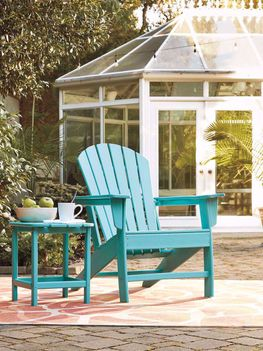 Sundown Treasure Turquoise Adirondack Chair and End Table
