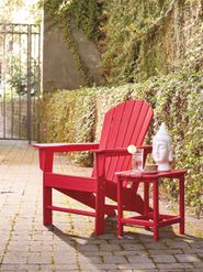 Sundown Treasure Red Adirondack Chair with End Table