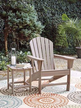 Sundown Treasure Driftwood Adirondack Chair with End Table