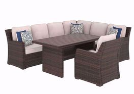 Salceda Sectional with Chair and Dining Table