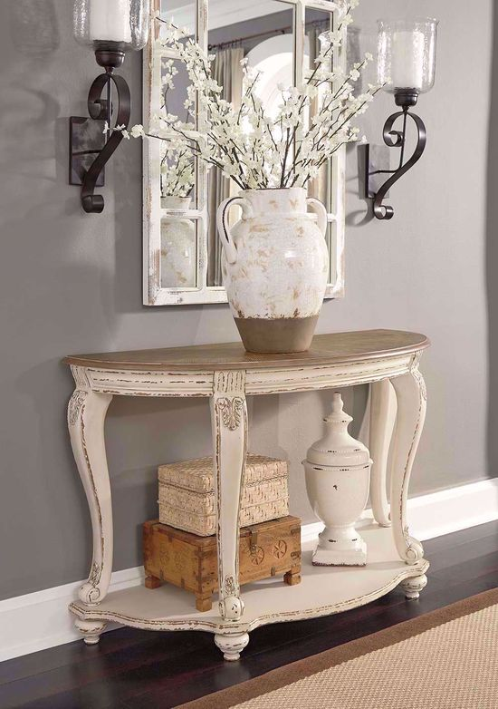 Picture of Realyn White and Brown Sofa Table
