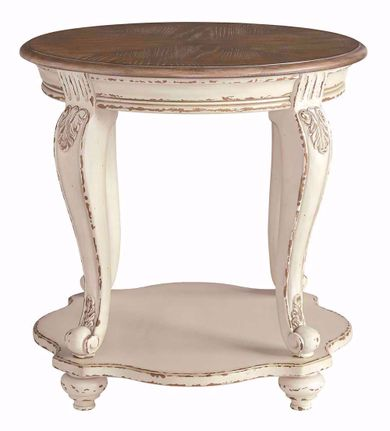 Realyn White and Brown Round End Table