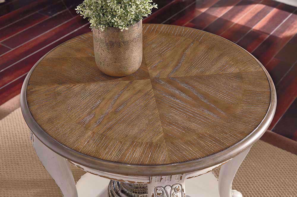 Picture of Realyn White and Brown Round End Table