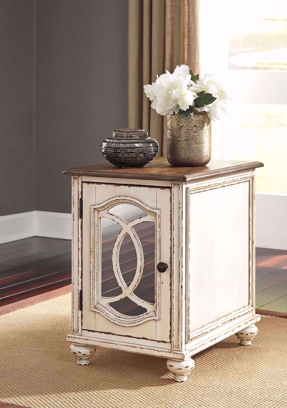 Picture of Realyn White and Brown Chairside Table