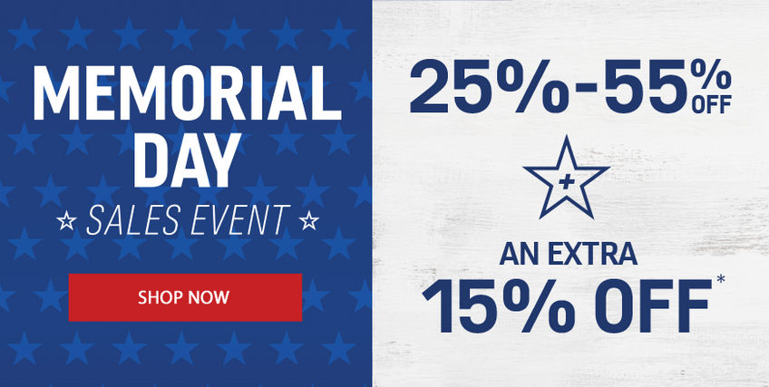 Memorial Day Sales Event | 25-55% off + Extra 15% off*