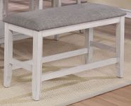 Fulton White Counter Upholstered Backless Bench