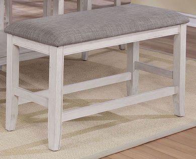 Fulton White Counter Upholstered Backless Bench