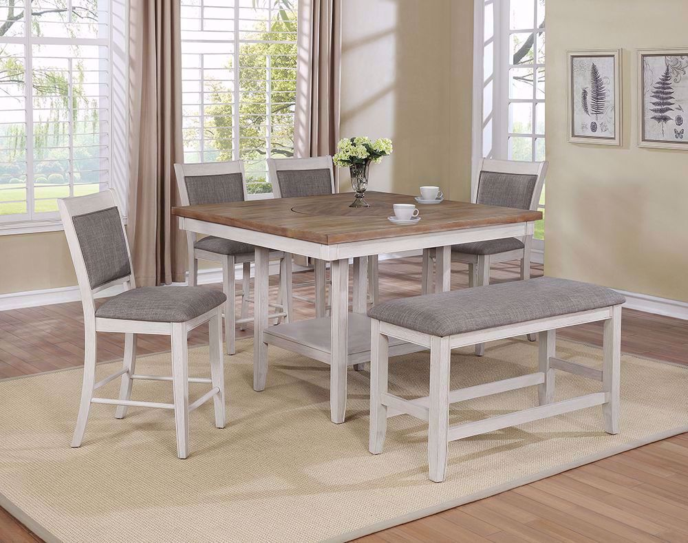 Picture of Fulton White Counter Table with Four Stools and One Bench