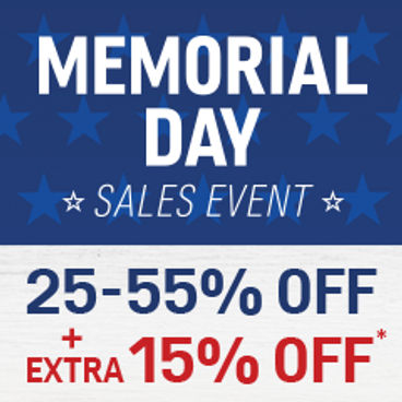 Memorial Day Sales Event| 25-55% off + Extra 15% off*