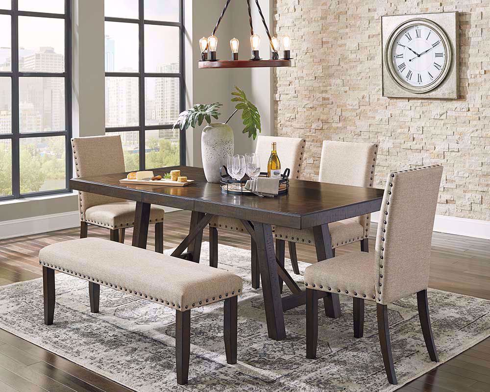 Picture of Rokane Dining Table with Four Chairs and One Bench