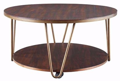Lettori Brown Round Cocktail Table