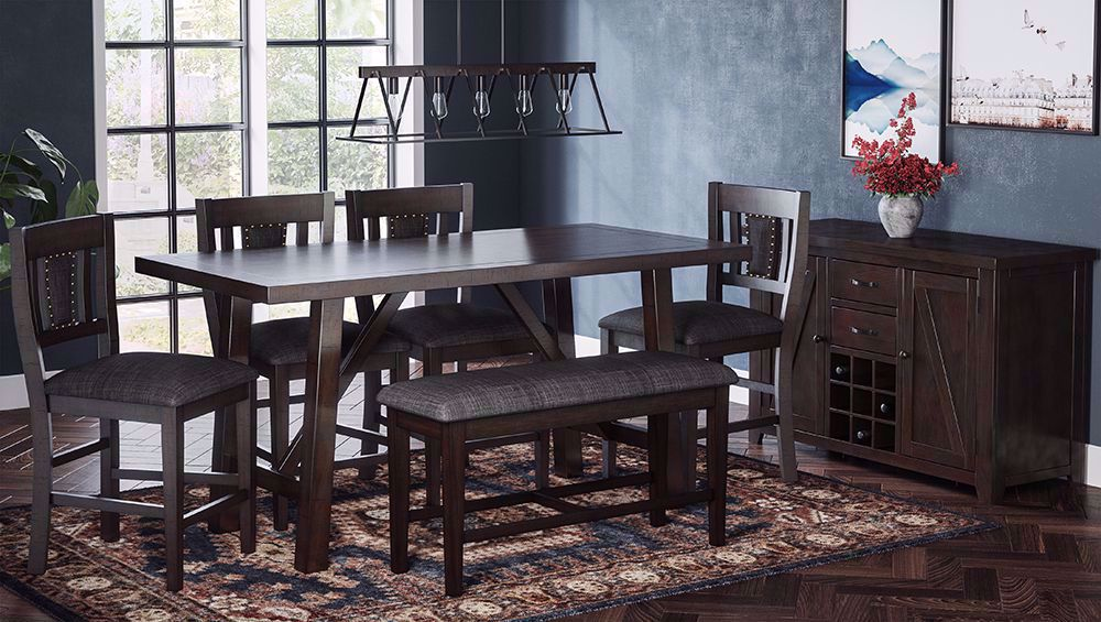 Picture of American Rustics Table and Four Stools and One Bench