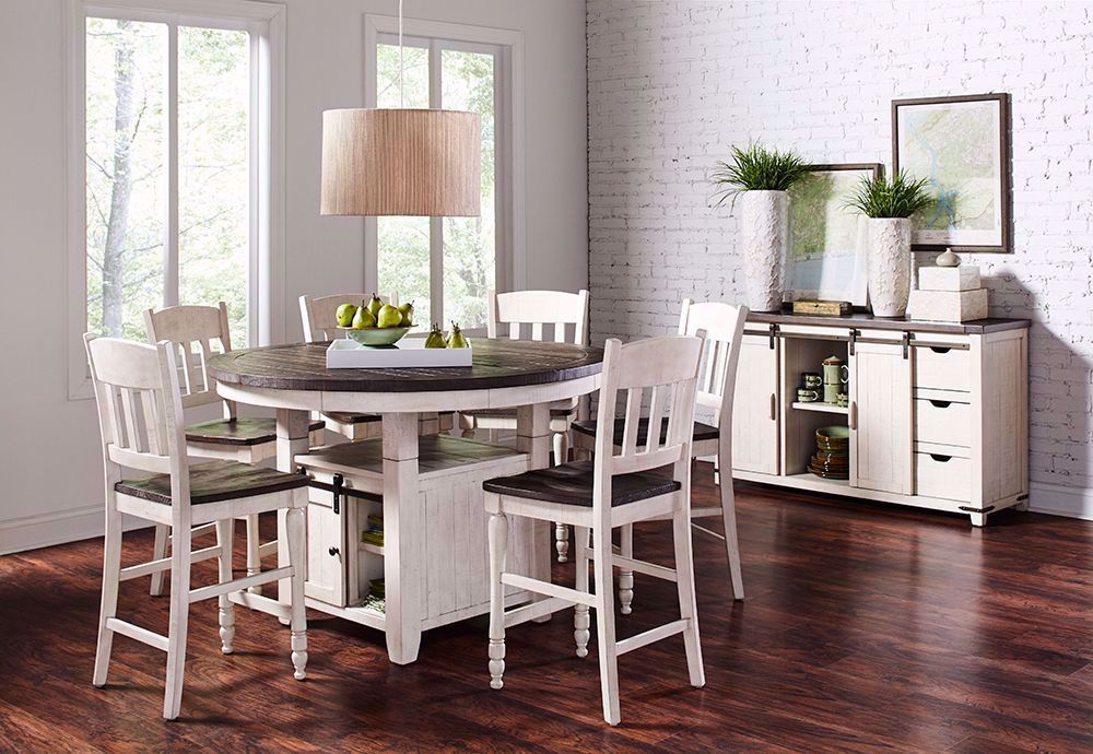 Picture of Madison White Round Convertible Table and Four Stools