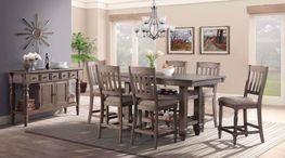 Balboa Park Counter Table with Six Slat Back Stools
