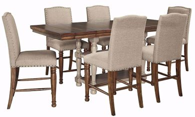 Lettner Counter Table with Six Stools