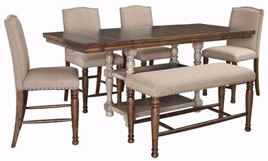 Lettner Counter Table with Four Stools and One Bench