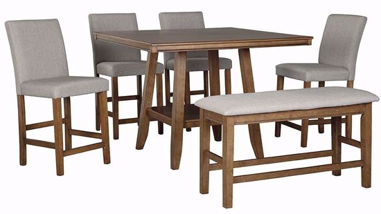 Picture of Glennox Counter Table with Four Stools and One Bench