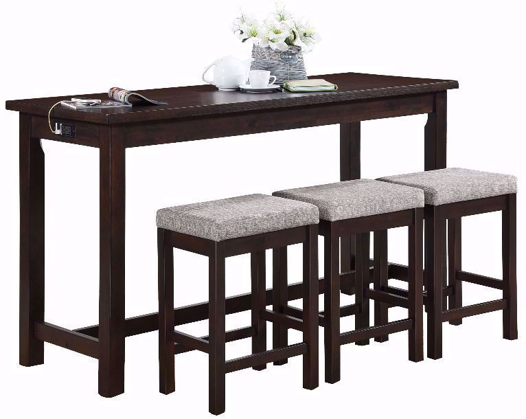 Picture of Hanna Espresso Power Sofa Bar Table and Three Stools