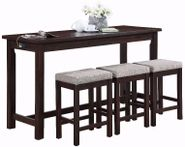 Hanna Espresso Power Sofa Bar Table and Three Stools