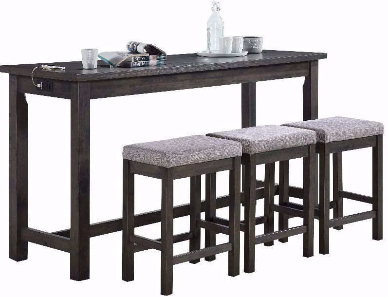 Picture of Hanna Grey Power Sofa Bar Table and Three Stools