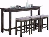 Hanna Grey Power Sofa Bar Table and Three Stools