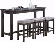 Hanna Grey Power Sofa Bar Table and Three Stools