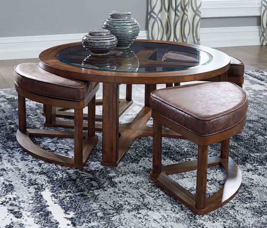 Picture of Hannery Brown Cocktail Table with Stools