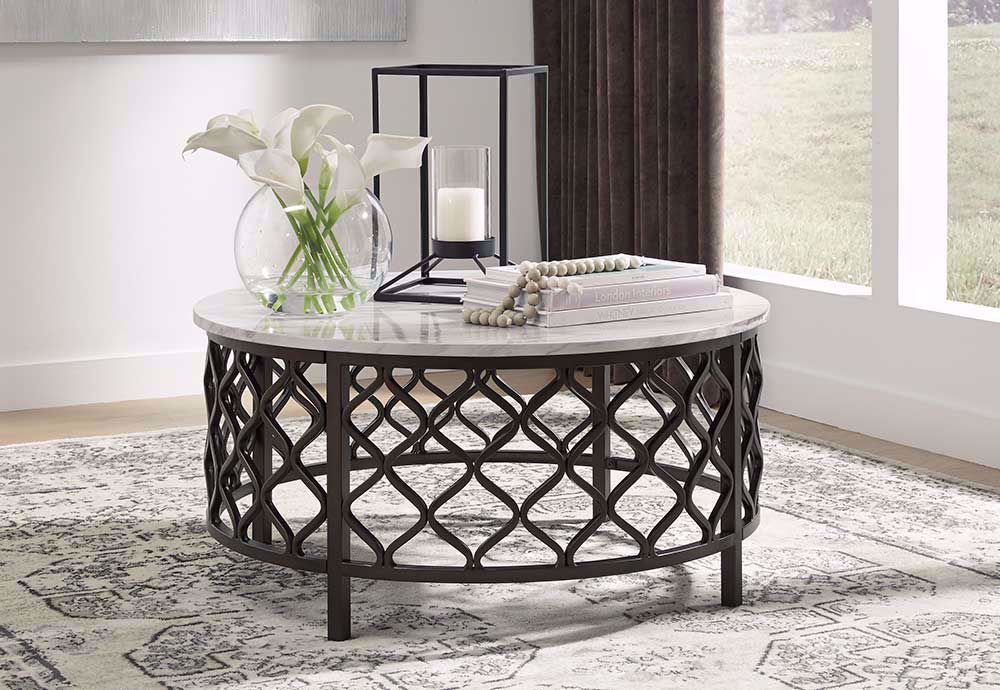 Picture of Trinson Gray and Black Round Cocktail Table