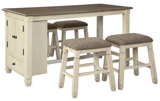 Picture of Bolanburg Counter Storage Table with Four Backless Stools