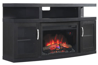 Cantilever TV Stand with Electric Fireplace Insert