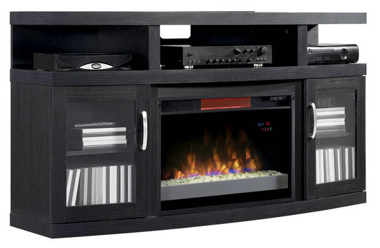 Picture of Cantilever TV Stand with Electric Fireplace Insert
