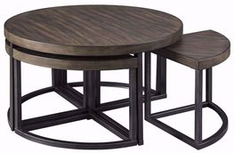Johurst Black and Gray Cocktail Table with Four Stools