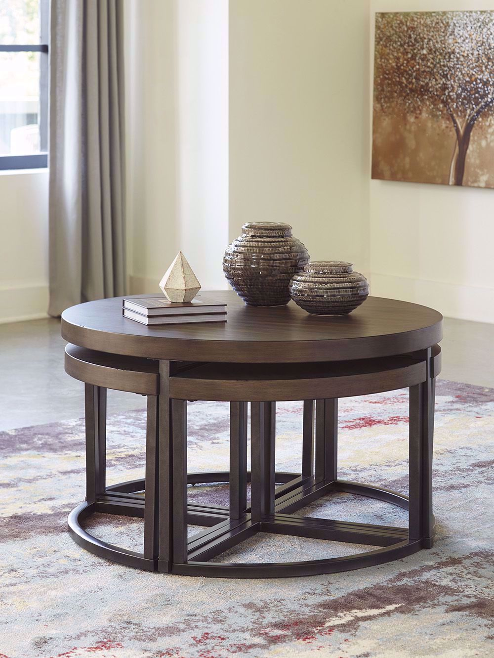 Picture of Johurst Black and Gray Cocktail Table with Four Stools