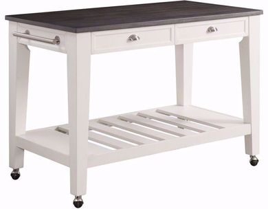 Kayla White and Grey Kitchen Cart