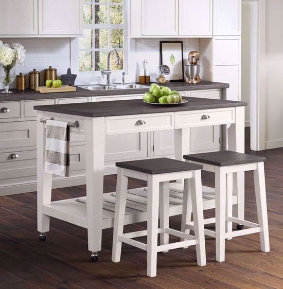 Picture of Kayla White and Grey Kitchen Cart