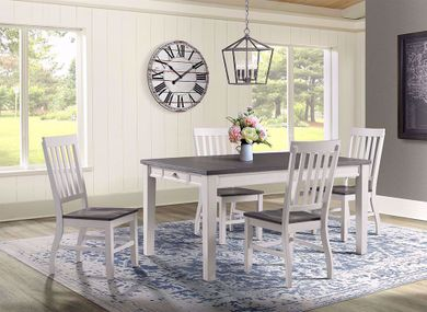 Kayla White and Grey Dining Table with Four Chairs