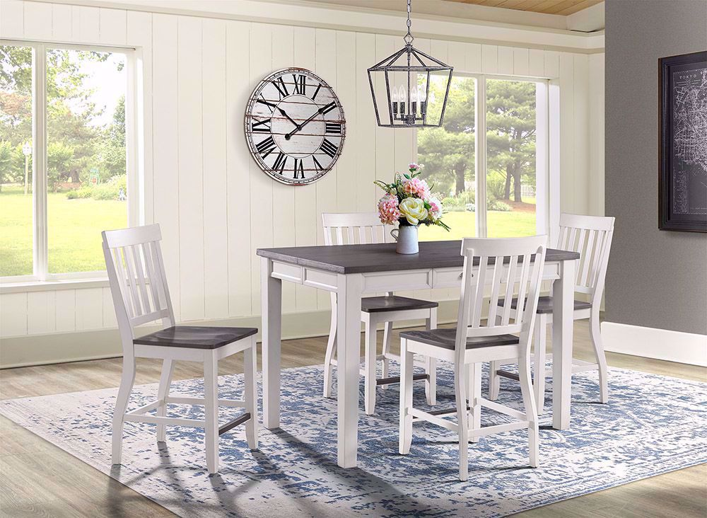 Picture of Kayla White and Grey Counter Table with Four Chairs