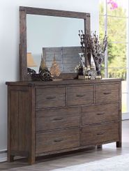 Galleon Walnut Dresser and Mirror