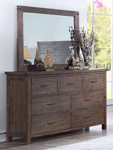 Galleon Walnut Dresser and Mirror