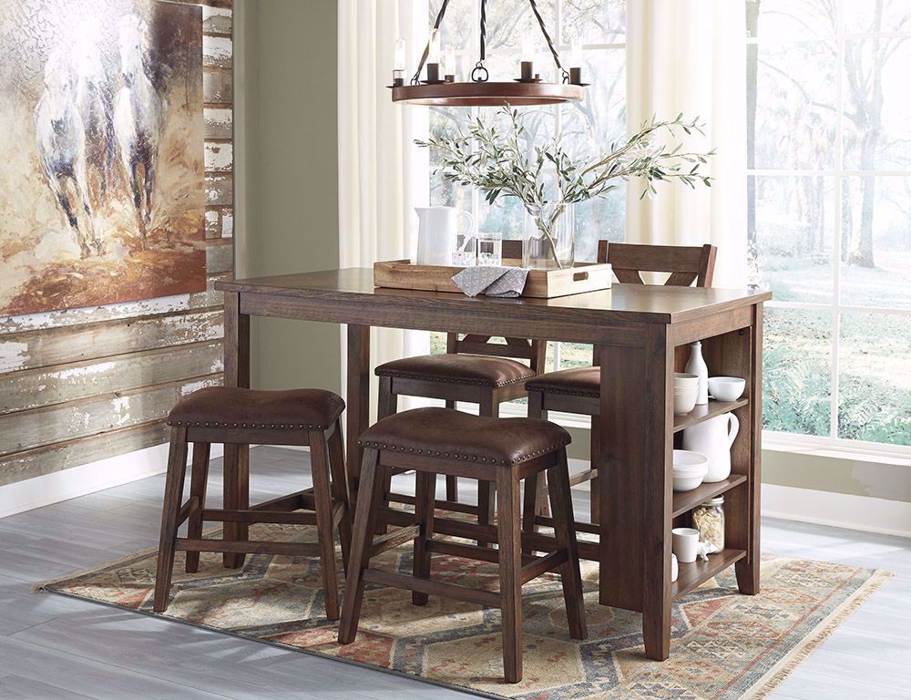 Picture of Chaleny Counter Table with Two Backless Stools and Two Barstools