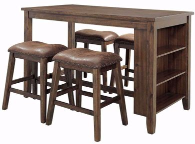 Chaleny Counter Table with Four Backless Stools
