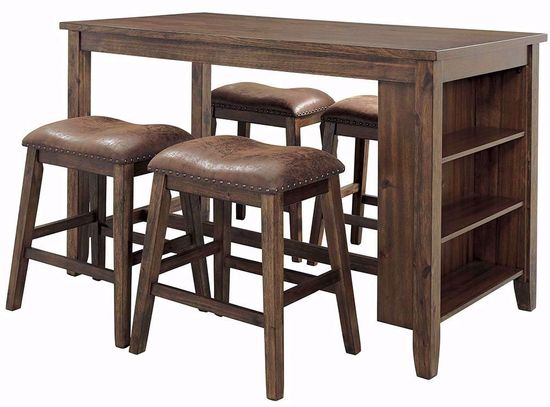 Picture of Chaleny Counter Table with Four Backless Stools