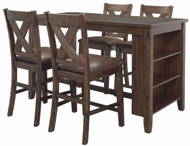 Chaleny Counter Table with Four Stools