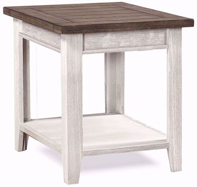 Eastport Driftwood White End Table