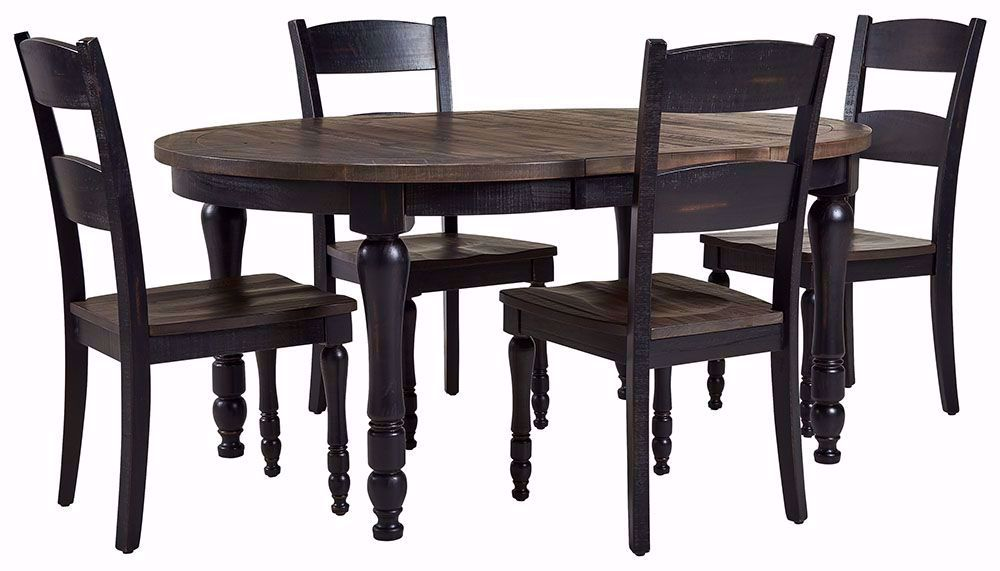 Picture of Madison Black Round Leaf Table with Four Chairs