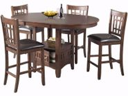 Max Cherry Pub Table with Four Chairs