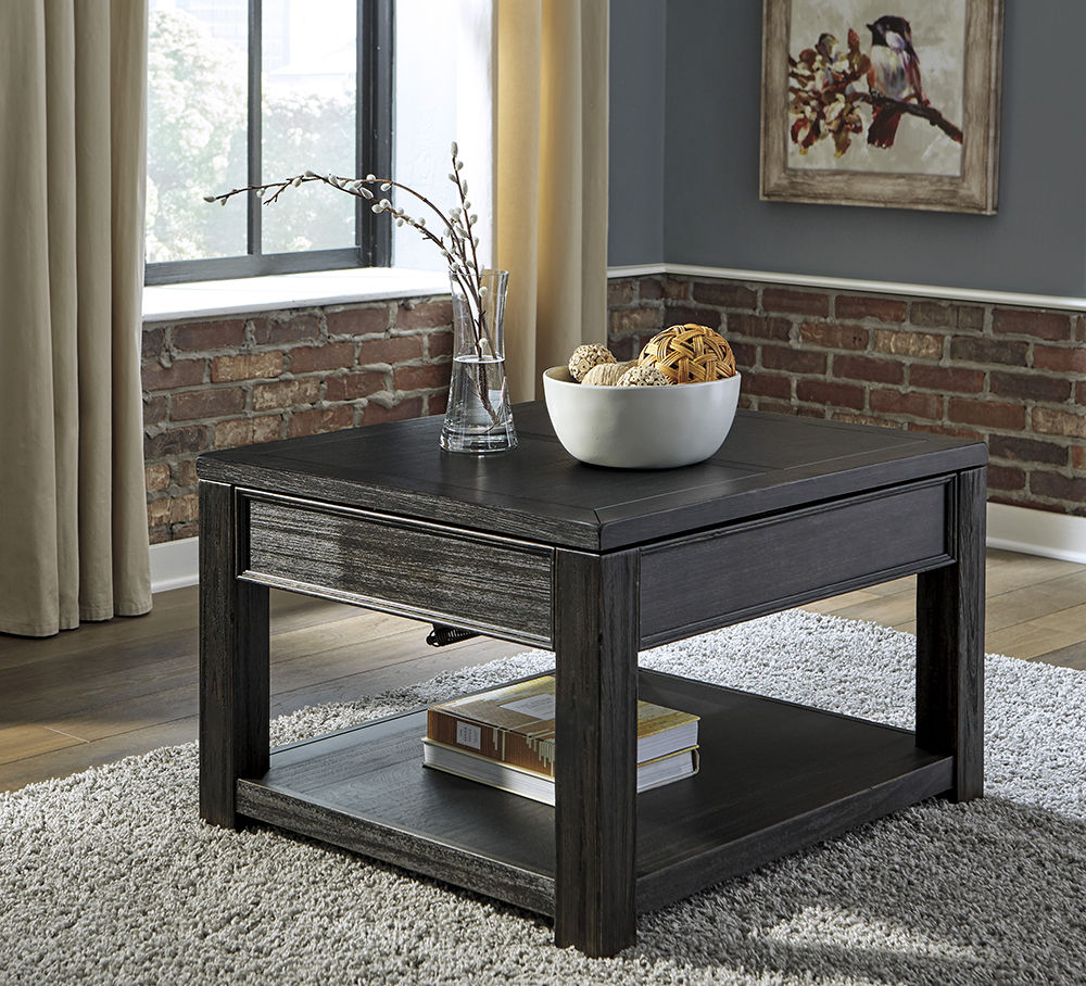 Picture of Gavelston Black Rectangular Lift Cocktail Table