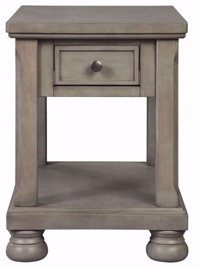 Lettner Grey Rectangular End Table
