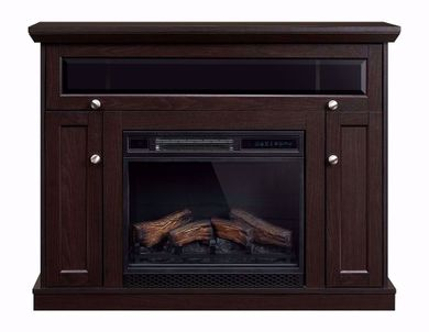 Windsor 23 Inch Espresso Entertainment Mantel with Fireplace Insert