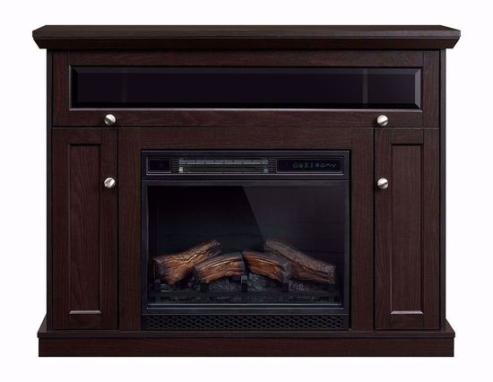 Picture of Windsor 23 Inch Espresso Entertainment Mantel with Fireplace Insert